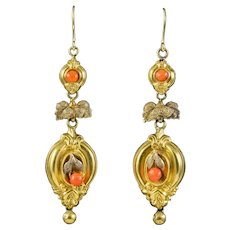 Antique Victorian Etruscan Coral Drop Earrings 18ct Gold Circa 1860