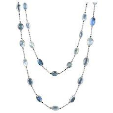 Antique Victorian Long Moonstone Chain Necklace Silver Circa 1900