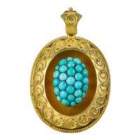Antique Victorian Etruscan Turquoise Locket Pendant 18ct Gold Circa 1880