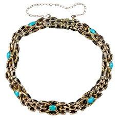 Antique Victorian Turquoise Bracelet 9ct Gold Circa 1900