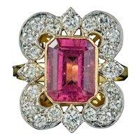 Art Deco Pink Tourmaline Diamond Ring 4.10ct Tourmaline Circa 1920 With Cert