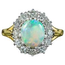 Antique Edwardian Opal Diamond Cluster Ring 2.25ct Opal Circa 1910