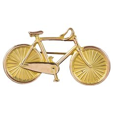Antique Victorian Bicycle Brooch 9ct Gold Dated 1888
