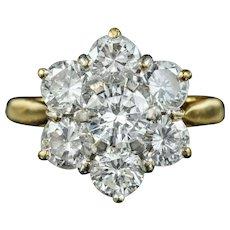 Vintage Diamond Cluster Ring 2.50ct Of Diamond