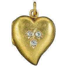 Antique Victorian Diamond Witches Heart Locket 15ct Gold Circa 1890