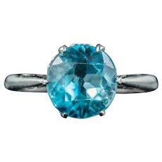 Antique Edwardian Blue Zircon Solitaire Ring 3.30ct Zircon Circa 1905