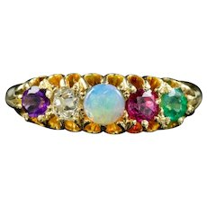 Antique Victorian Gemstone Adore Ring Circa 1860