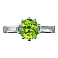 Art Deco Peridot Diamond Trilogy Ring 1.50ct Peridot Circa 1920