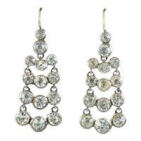 Antique Georgian Paste Drop Earrings Silver Circa 1820
