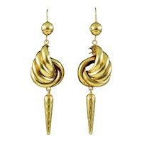 Antique Victorian Etruscan Drop Earrings 18ct Gold Circa 1870