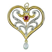 Antique Edwardian Ruby Diamond Pearl Heart Pendant 15ct Gold Circa 1905