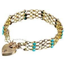 Antique Victorian Turquoise Padlock Gate Bracelet 9ct Gold Circa 1900