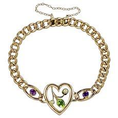 Antique Edwardian Suffragette Heart Bracelet 15ct Gold Circa 1910