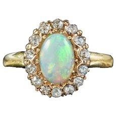 Antique Victorian Opal Diamond Cluster Ring Circa 1890