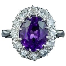 Antique Edwardian Amethyst Diamond Cluster Ring 2.80ct Amethyst Circa 1910
