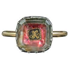 Antique Georgian Stuart Rock Crystal Ring Gold Wire Cipher Circa 1730