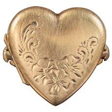 Antique Edwardian Heart Locket Ring Dated 1918