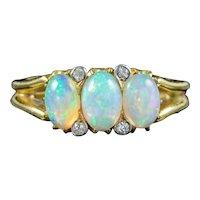 Vintage Opal Diamond Trilogy Ring Circa 1950