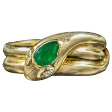 Antique Victorian Emerald Snake Ring Dated 1877