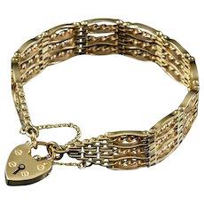 Antique Victorian Gate Bracelet 9ct Gold Circa 1900