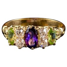 Antique Edwardian Suffragette Ring Amethyst Peridot Diamond 18ct Gold Circa 1910