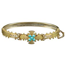 Antique Victorian Turquoise Celtic Cross Bangle 15ct Gold Circa 1880 Boxed