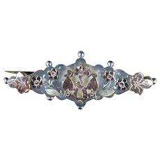 Antique Victorian Floral Horseshoe Brooch Silver Circa 1900
