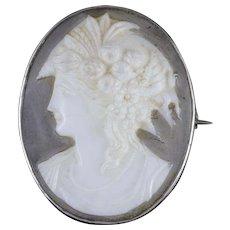 Antique Victorian Cameo Brooch Silver Resin Circa 1880