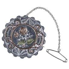 Antique Victorian Sterling Silver Floral Brooch Circa 1880
