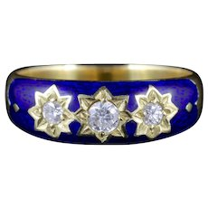 Antique Victorian Diamond Trilogy Ring Blue Enamel Stars 18ct Gold Circa 1900