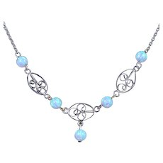 Antique Victorian Opal Necklace Silver Circa 1900