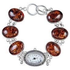 Amber Marcasite Watch Bracelet Sterling Silver Quartz Clock