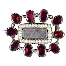 Antique Georgian Mourning Brooch Flat Cut Garnet Pearl 18ct Gold Circa 1800