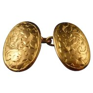 Victorian Rose Gold Double Engraved Cufflinks Dated 1897