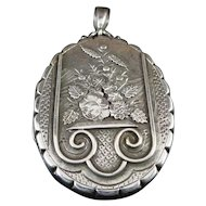 Antique Victorian Large Silver Locket Dated 1882