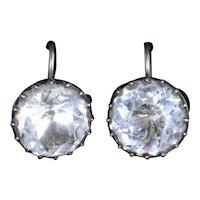 Antique Georgian Paste Earrings 18ct Silver Circa 1800