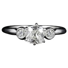 Diamond Trilogy Engagement Ring Platinum 1.08ct Old Cut Diamond