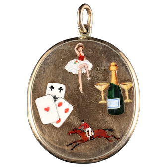 Enamel Gold Locket Collectable the Four Vices Cards Gambling Women Sport
