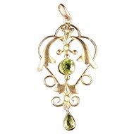 Victorian Peridot & Pearl Gold Pendant
