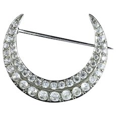 Antique Victorian Paste Crescent Moon Brooch Silver Dated 1898