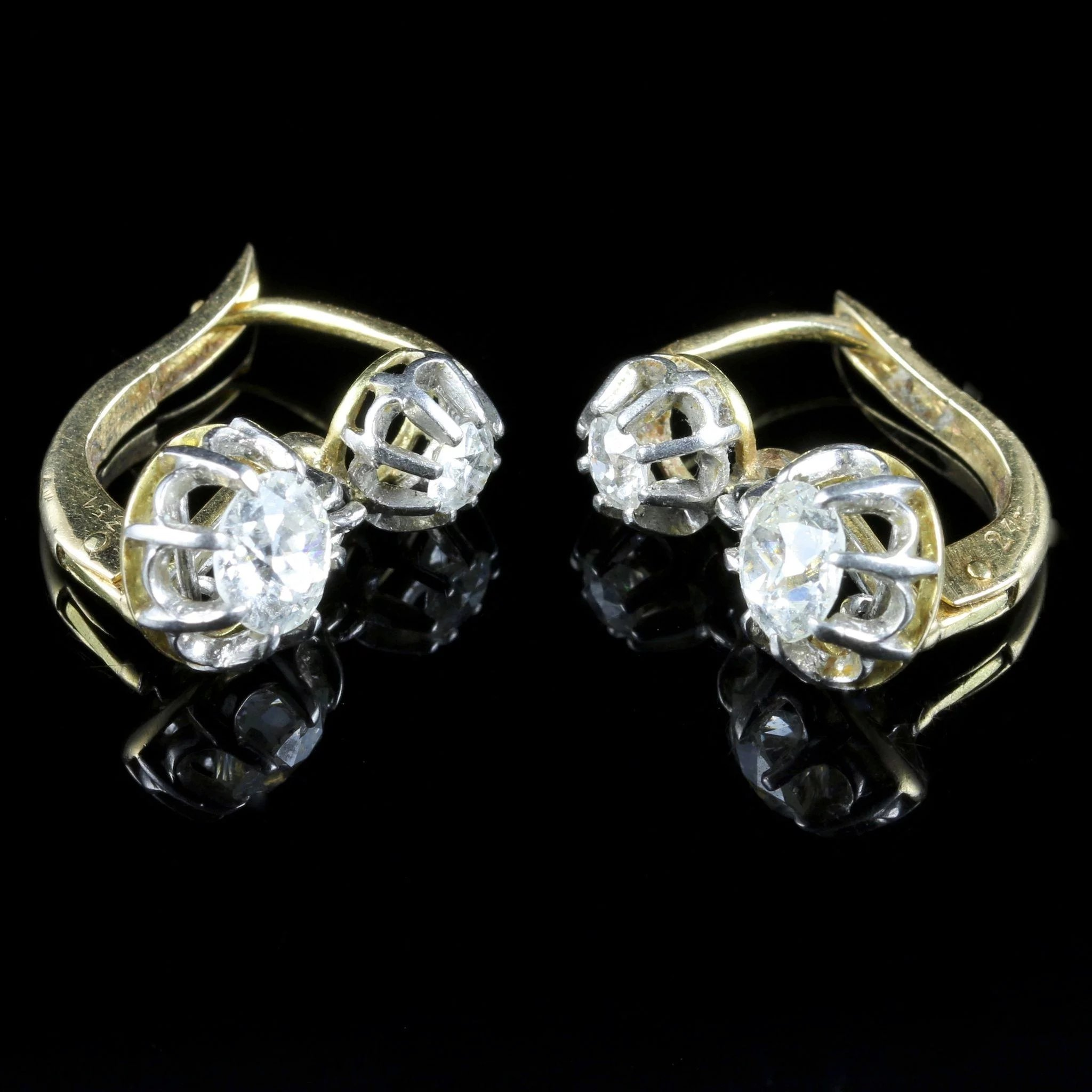 gold to earrings full dormeuses item diamonds diamond antique expand french click platinum and
