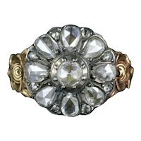 Antique Diamond Flower Ring 18ct Gold Silver