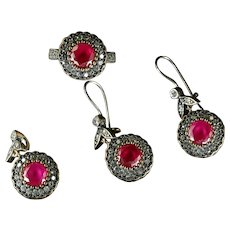 Antique Victorian Ruby Paste Suite Earrings Ring And Pendant