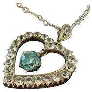Victorian Blue Zircon & White Sapphire Pendant & Necklace