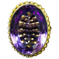 Antique Victorian Amethyst Ring 14ct Gold 25ct Solitaire