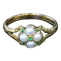 Antique Georgian Pearl & Emerald Ring - 18ct Gold - Circa 1780