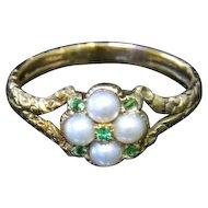Antique Georgian Pearl & Emerald Ring - 18ct Gold - Circa 1780