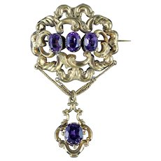 Antique Victorian Dropper Brooch Paste 18ct Gold on Pinchbeck Circa 1900