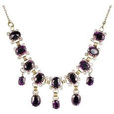 Antique Edwardian Purple Paste Dropper Necklace Circa 1910