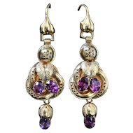 Victorian Almandine Garnet Earrings - Circa 1900 Cannetille Workmanship
